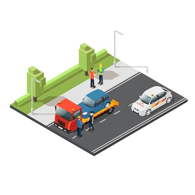 Composición del servicio de evacuación de automóviles isométrica vector gratuito