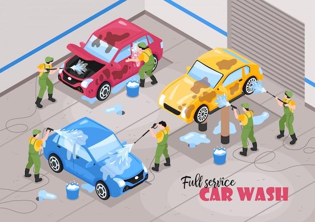 Composición de servicios de lavado de coches isométrica con texto editable y caracteres humanos de trabajadores con ilustración de vector de coches vector gratuito