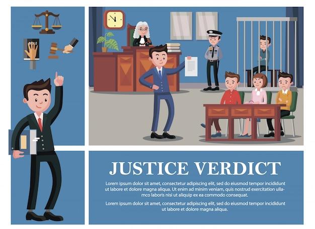 Composición del sistema judicial plano con abogado juez jurado acusado oficial de policía mano en escalas de martillo de libro de la biblia vector gratuito