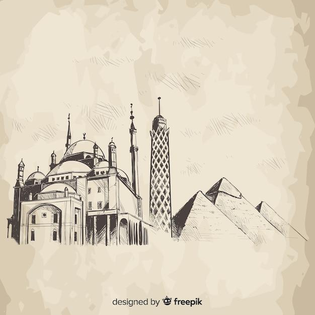 Composición de skyline de el cairo dibujado a mano vector gratuito