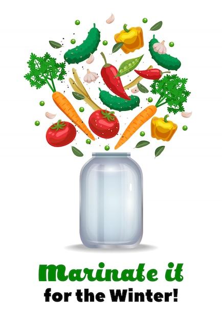 Composición de tarro de encurtidos con texto adornado e imágenes de tarro de albañil vacío y piezas de vegetales maduros ilustración vector gratuito