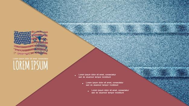 Composición de textura colorida jeans tradicionales vector gratuito