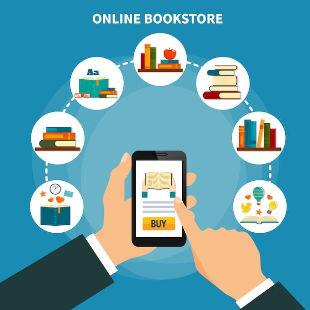 Composición de la tienda de libros en línea vector gratuito