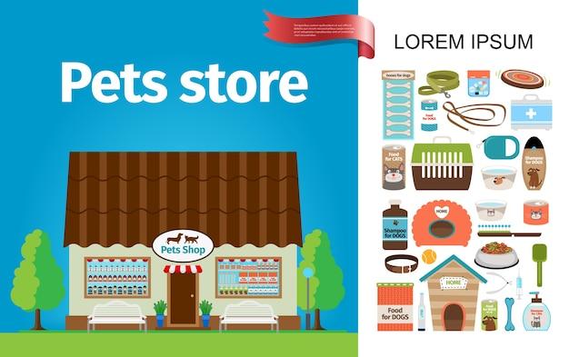 Composición de la tienda de mascotas plana vector gratuito