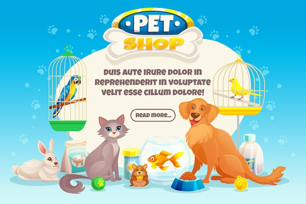 Composición de la tienda de mascotas vector gratuito