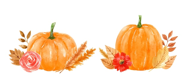 Composiciones de acuarela con calabazas naranjas, flores, hojas doradas, ramitas y trigo. Vector Premium
