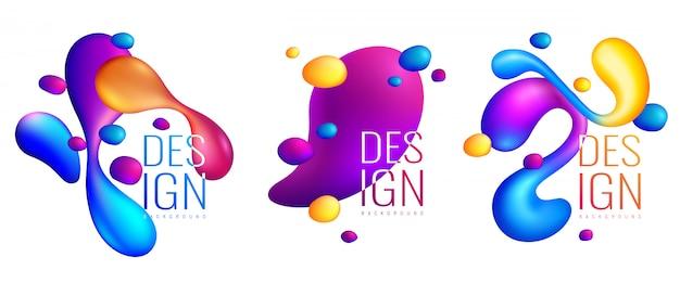 Composiciones de diseño abstracto de fluidos holográficos vector gratuito