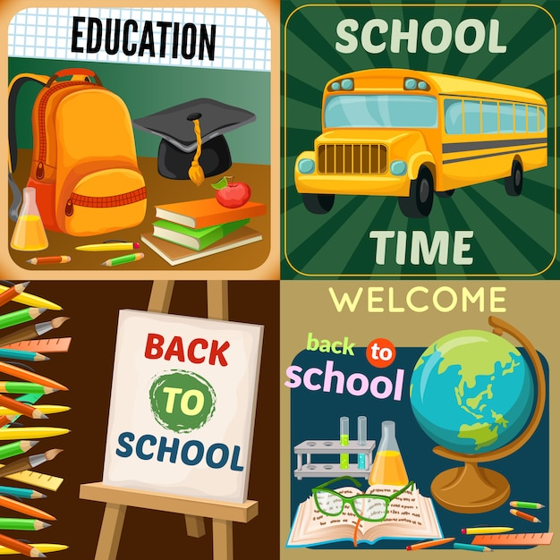 Composiciones de educación escolar con suministros de arte disciplinas académicas de autobús amarillo mochila libros de texto y papelería ilustración vectorial aislado Vector Premium
