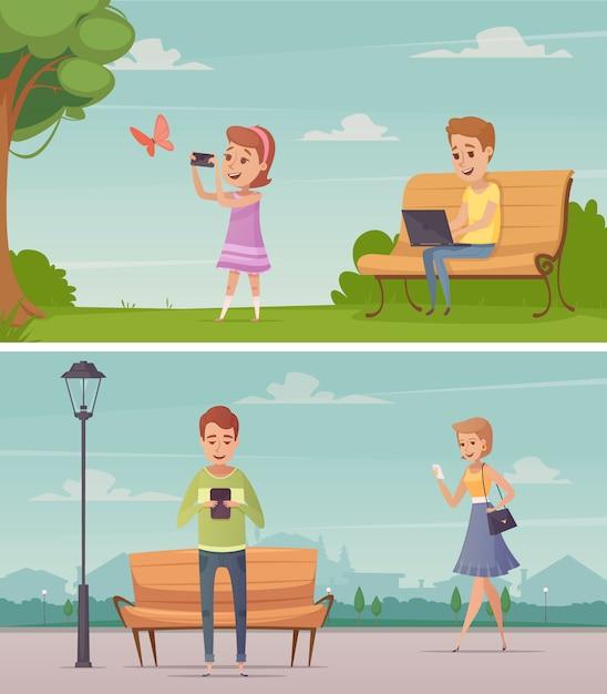 Composiciones horizontales al aire libre con una chica fotografiando mariposas y hombres jóvenes mirando la pantalla de vector gratuito