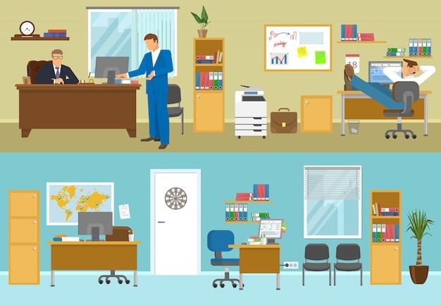 Composiciones interiores de oficina con empresarios en sala beige y lugares de trabajo vacíos con paredes azules aisladas ilustración vectorial vector gratuito