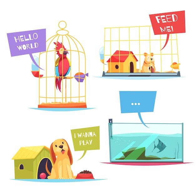 Composiciones de pet shop vector gratuito