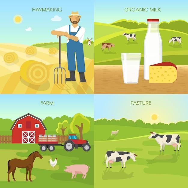 Composiciones planas de agricultura vector gratuito