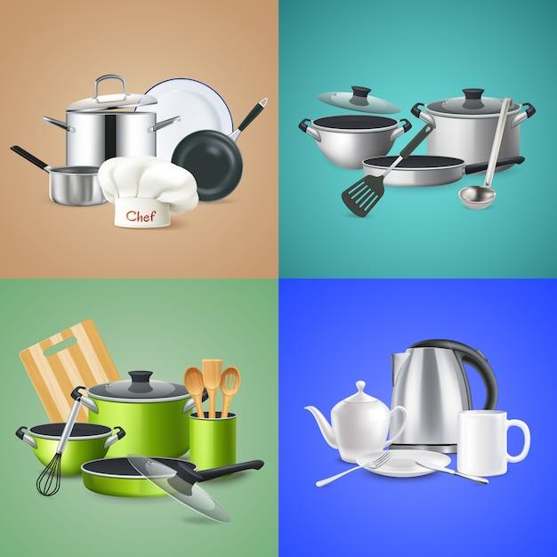 Composiciones realistas de utensilios de cocina. vector gratuito