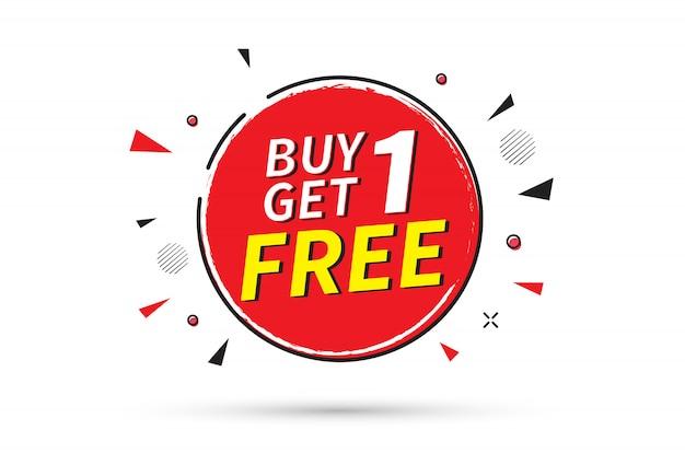 Compra 1 y obten 1 gratis. plantilla de banner de venta. Vector Premium