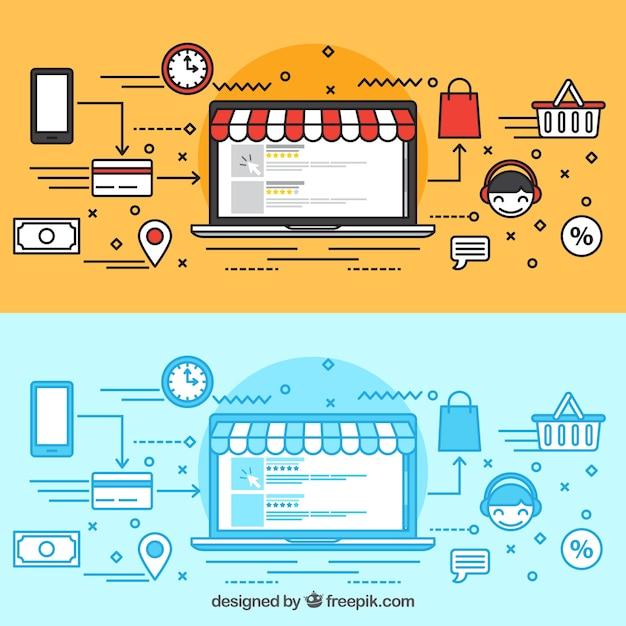 Comprando online con el portátil vector gratuito