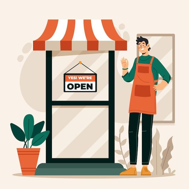 Comprar con letrero abierto Vector Premium