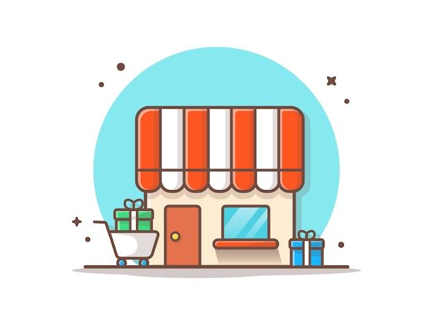 Comprar con regalos vector icono ilustración Vector Premium