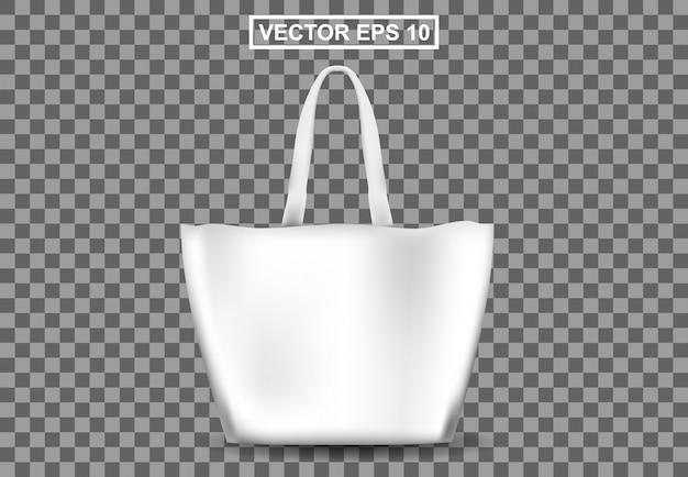 Compras de bolsos realistas en 3d, mujer de negocios totebag Vector Premium