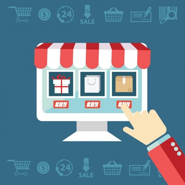 Compras comercio electrónico Vector Gratis