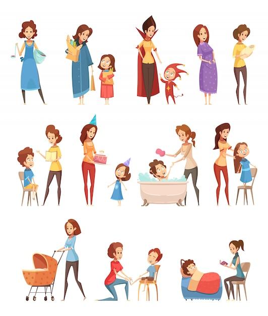 Compras de crianza de los hijos de maternidad jugando lectura caminando a niños iconos de dibujos animados retro 3 pancartas conjunto aislado vector illustration vector gratuito