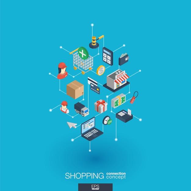 Compras iconos web integrados. concepto de interacción isométrica de red digital. sistema de línea y punto gráfico conectado. fondo abstracto para comercio electrónico, mercado y ventas en línea. infografía Vector Premium