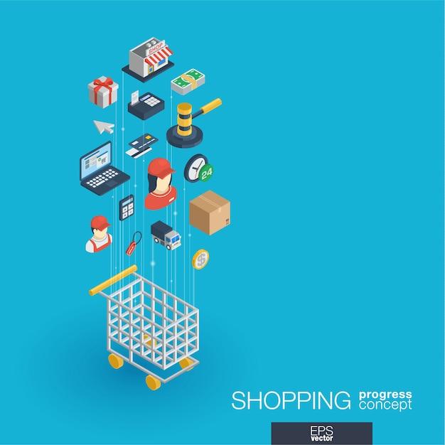 Compras iconos web integrados. concepto de progreso isométrico de red digital. sistema de crecimiento de línea gráfica conectado. fondo abstracto para comercio electrónico, mercado y ventas en línea. infografía Vector Premium