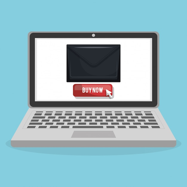 Compras en línea con banner de computadora portátil vector gratuito