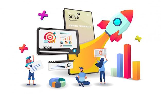 Compras en línea en concepto de aplicación móvil digital Vector Premium