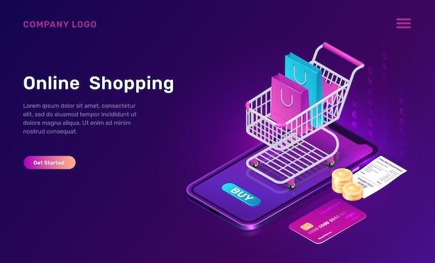 Compras en línea, concepto isométrico para aplicaciones móviles vector gratuito