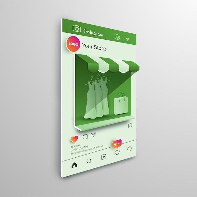 Compras en línea en el marco de instagram Vector Premium