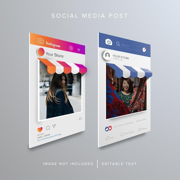 Compras en línea en publicaciones de redes sociales Vector Premium
