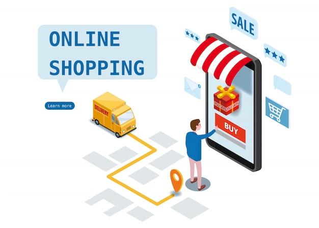Compras en línea, servicio de entrega urgente, servicio de mensajería. diseño isométrico Vector Premium