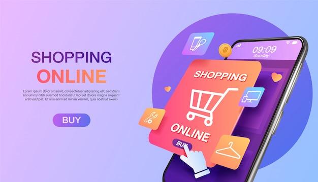 Compras en línea en el sitio web o en la página de inicio del concepto de marketing móvil y marketing digital. Vector Premium