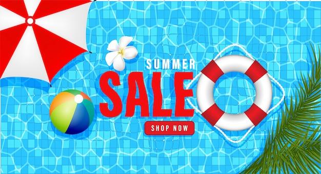 Compras de promoción de venta de verano, promoción de verano, vacaciones en la playa, estilo de fondo 3d de plantilla de banner web Vector Premium