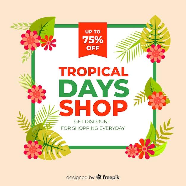 Compras tropicales vector gratuito