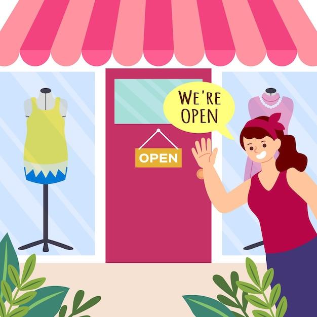 Compre con el cartel de que estamos abiertos vector gratuito
