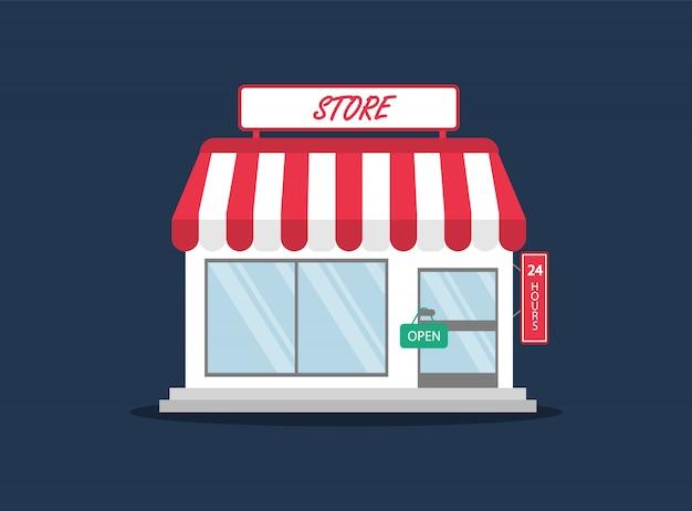 Compre en estilo plano. tienda, minimercado. Vector Premium