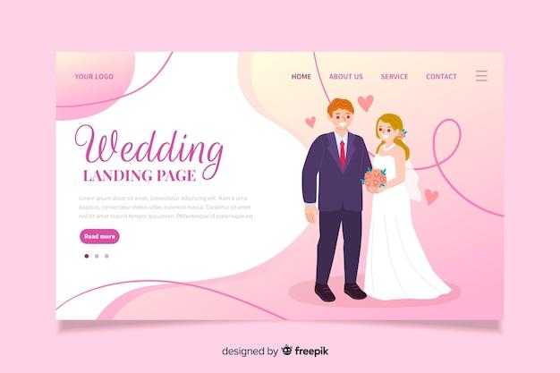 Compromiso de pareja el día de la boda vector gratuito