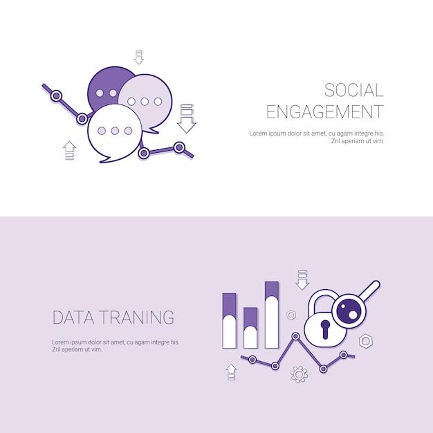 Compromiso social y plantilla de formación de datos web banner con espacio de copia Vector Premium