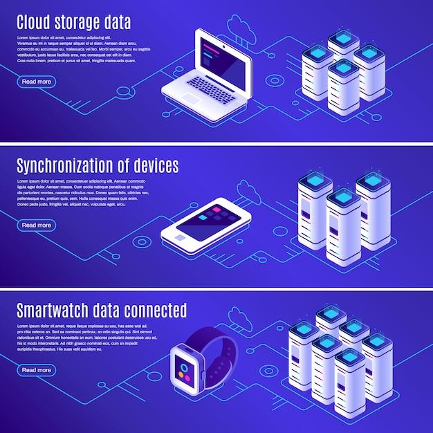 Computadora, computadora portátil y teléfono inteligente conectados al conjunto de banners de almacenamiento de datos en línea en la nube Vector Premium