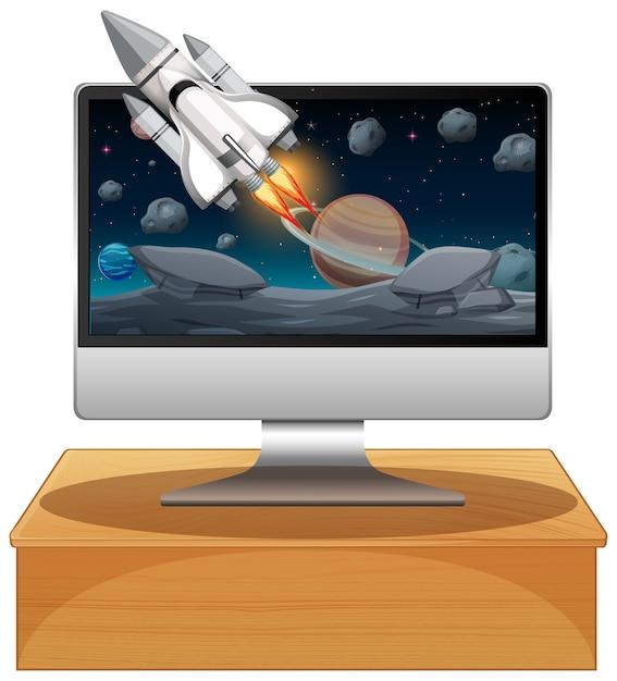 Computadora con escena espacial. Vector Premium