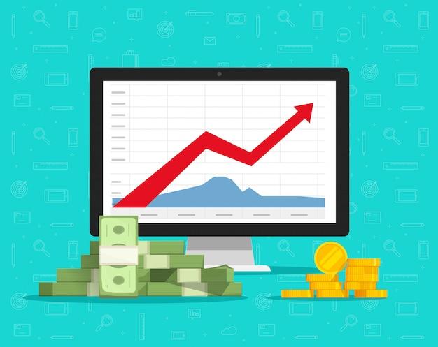 Computadora con gráficos de acciones o gráficos de comercio financiero y dibujos animados planos de dinero Vector Premium