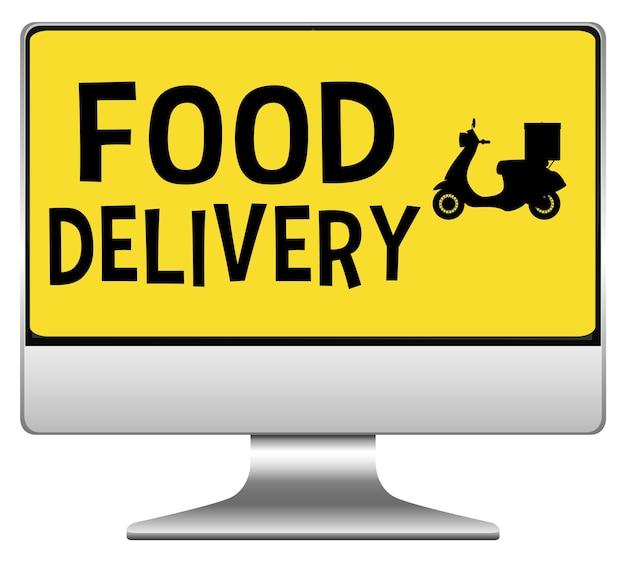 Computadora con logo de entrega de comida vector gratuito