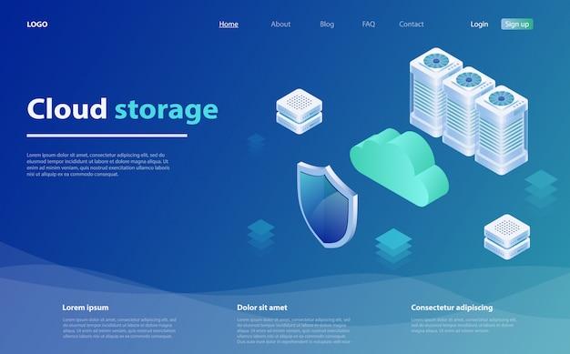 Computadora en la nube o página de inicio isométrica de almacenamiento Vector Premium