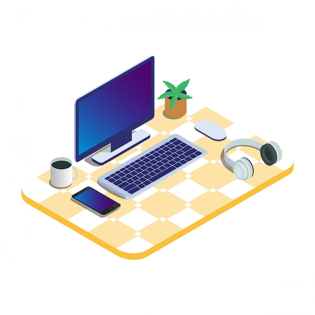 Computadora portátil aislada isométrica 3d lista para trabajar Vector Premium