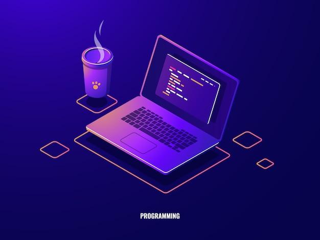 Computadora portátil con el ícono isométrico del código de programa, desarrollo de software y aplicaciones de programación neón oscuro vector gratuito