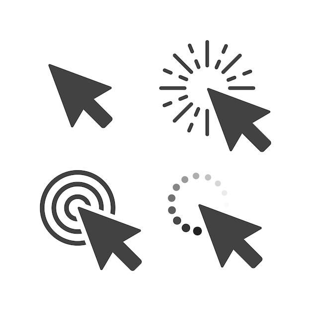 Computadora ratón clic cursor gris flecha conjunto. Vector Premium