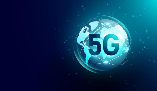 Comunicación en internet 5g y red inalámbrica global. Vector Premium