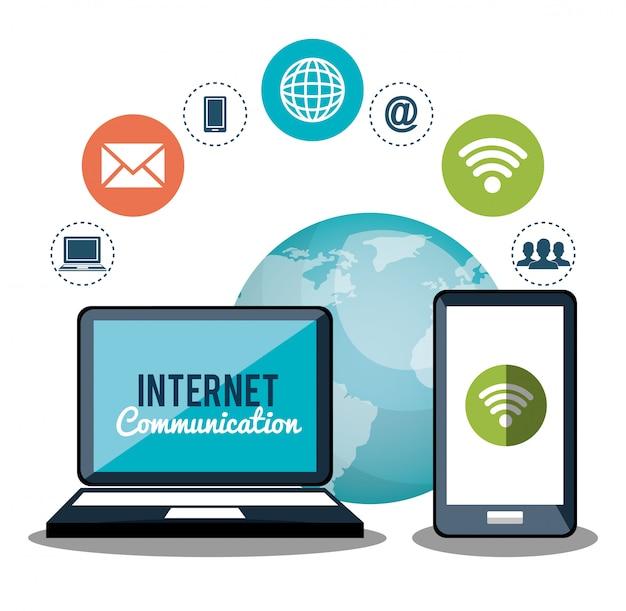 Comunicación por internet vector gratuito