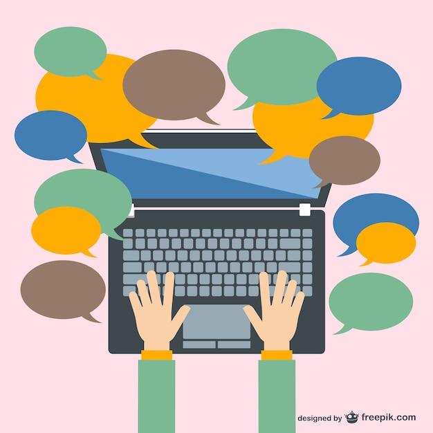 Comunicación con laptop Vector Premium